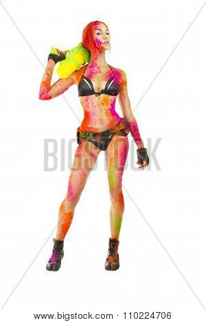 Happy Holi Festival! Holi Celebration Party - Beautiful Sexy Girl In Bikini With Toy Gun Colored Mul