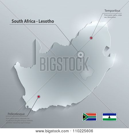South Africa Lesotho map flag glass card paper 3D vector