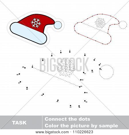 Christmas hat in vector to be traced by numbers. Vector dot to dot game. Connect dots for numbers. poster