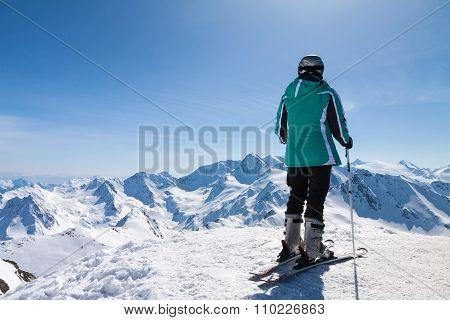 skier on snow hill, Solden, Austria