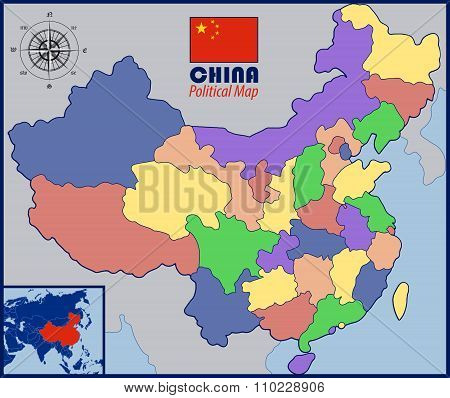 Colored Blank Map of China with Flag