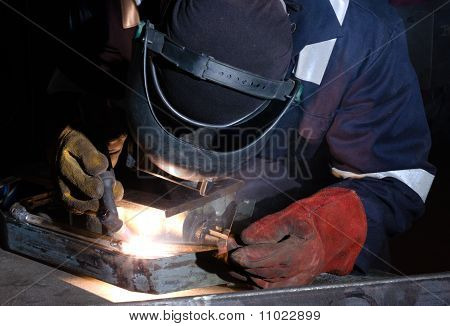 Tig Welding Of Metal Frame Close Up