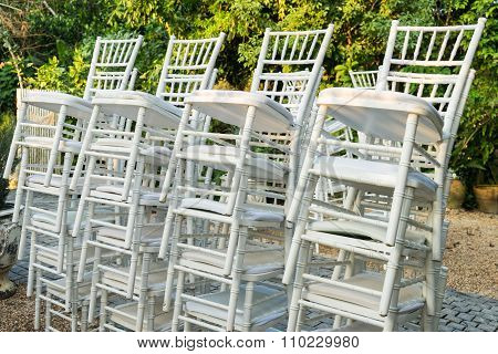 Stack of white chair