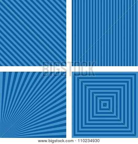 Blue simple striped background set