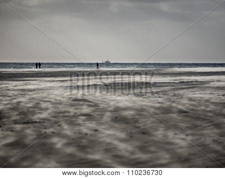 Sandstorm At Fanoe On The Danish North Sea Coast