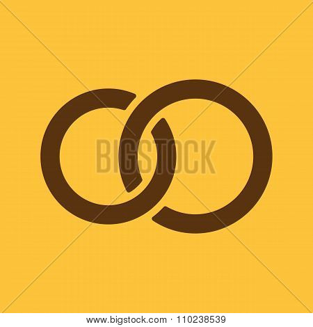 The United wedding ring icon. Marriage and glans symbol. Flat