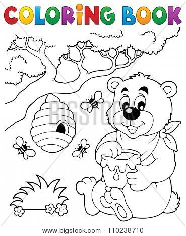 Coloring book bear theme 1 - eps10 vector illustration.