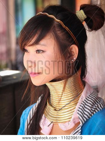 Padaung tribe young girl