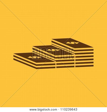 The stack of banknotes icon. Greenback, bank note, money symbol. Flat
