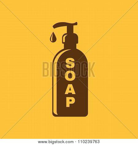 The liquid soap icon. Hand wash symbol. Flat