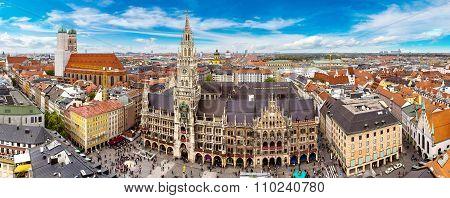 Aerial View On Marienplatz Town Hall