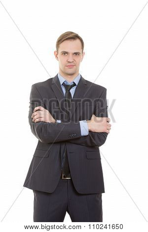 body language. man in business suit isolated white background. Training managers. sales agents. gest