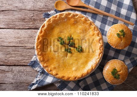 American Chicken Pot Pie On The Table. Horizontal Top View