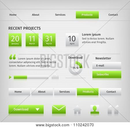 Web site design elements with green buttons hover.