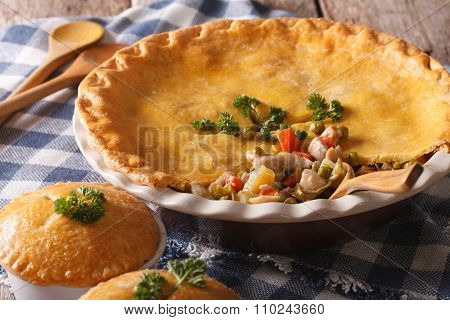 American Food: Chicken Pot Pie Close-up On The Table. Horizontal