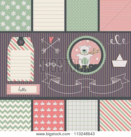 Scrapbook Design Elements. teddy bear and seamless patterns.