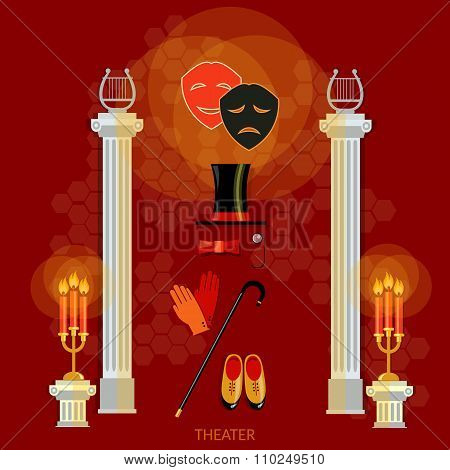 Theater Concept Scenario Decorations Performance Actors Theatrical Masks Ancient Columns