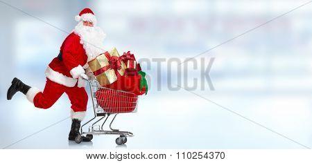 Christmas Santa Claus portrait over blue  background