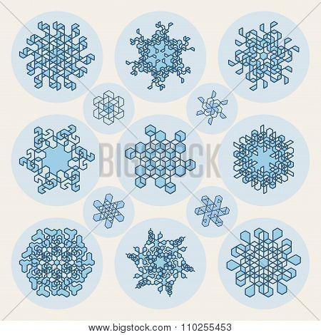Set Of Thirteen Vector Line Art Stroke Offset Geometric Blue Snowflake Shape Design Elements