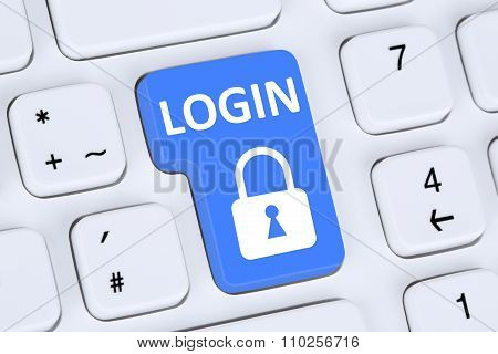 Login Button Submit With Password Online On Internet Web Computer