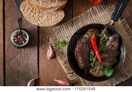Homemade Blood Sausage With Offal On The Old Wooden Background In Rustic Style. Top View