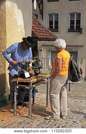Artisan Make Craft In The Swiss Village Gruyeres, Switzerland.