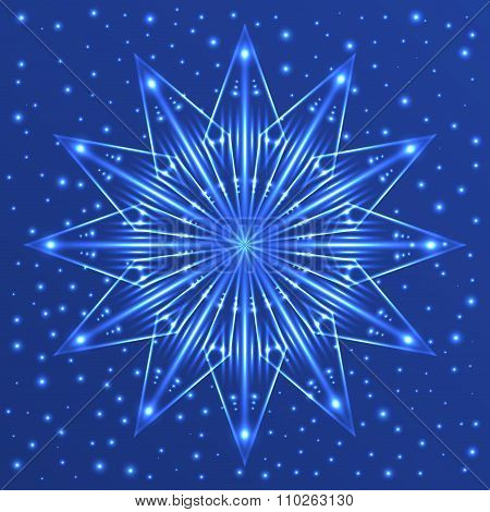 Christmas fluorescent snowflake on blue background with sparkles