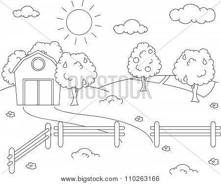 Rural Landscape With Barn, Corral, Fields And Fruit Trees. Coloring Book