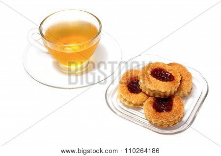 Afternoon Tea Break ,tea Cup And Strawerry Pastry For Goog Health