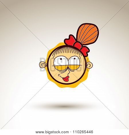 Vector Art Hand Drawn Illustration Of Smiling Person. Girl Temperament Idea, Emotions On Woman Face.