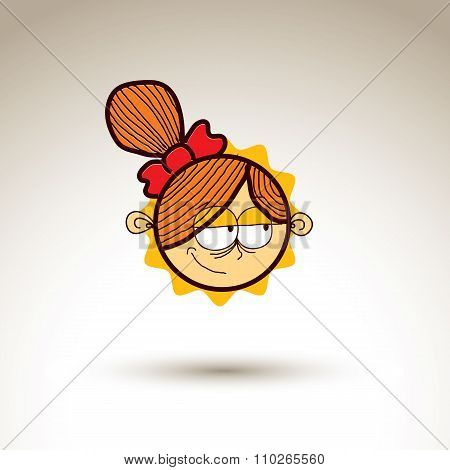 Vector Art Hand Drawn Illustration Of Person. Girl Temperament Idea, Emotions On Woman Face. Web Ava
