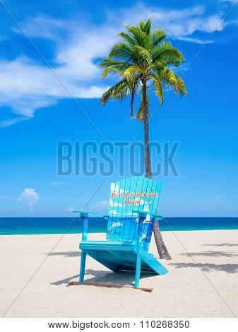 FORT LAUDERDALE,USA - AUGUST 11,2015 : The beach at Fort Lauderdale in Florida on a beautiful sumer day