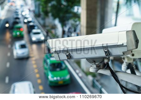 CCTV camera to traffic monitor and road security Outdoor security poster