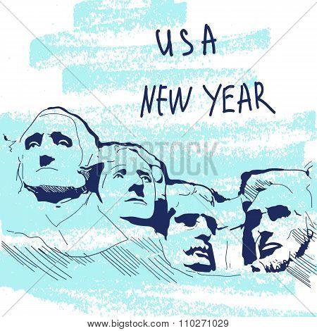 New Year Vector Illustration. World Famous Landmarck Series: USA, Mount Rushmore, Six Grandfathers.