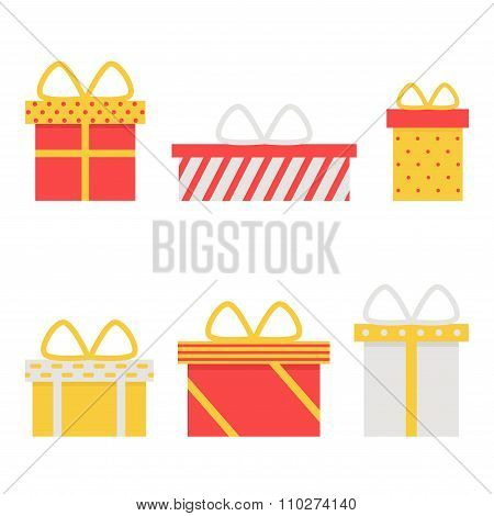 Present box isolated icons on white background.