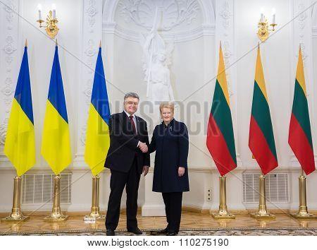 Petro Poroshenko And Dalia Grybauskaite