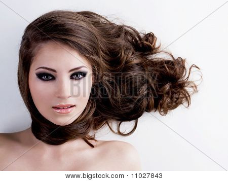 Woman With Beauty Eyes And Hairs