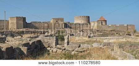 Excavations of ancient settlement at the walls of fortress Akkerman, Ukraine