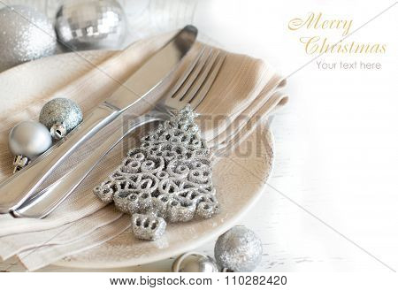 Silver And Cream Christmas Table Setting