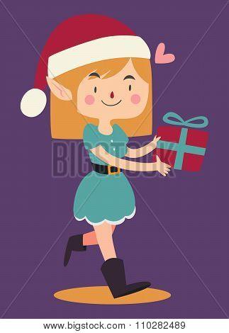 Cartoon Elf Walking And Holding A Wrapped Git Box