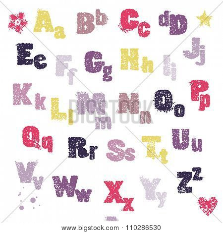 Alphabet capital and small ink-stained letters, vector illustration.