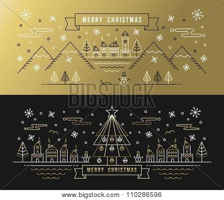 Merry Christmas Set Gold Outline Tree Xmas Holiday