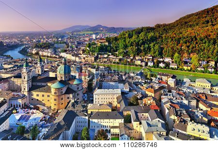 Aerial View Of The Historic City Of Salzburg, Salzburger Land, Austria