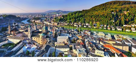 Aerial View Of The Historic City Of Salzburg, Salzburger Land In Austria