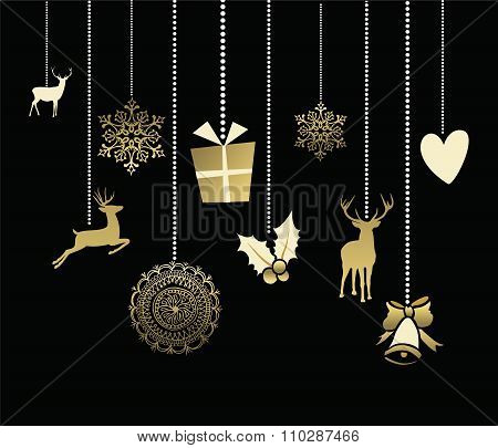 Holiday Christmas Decoration Cute Deer Gold Card