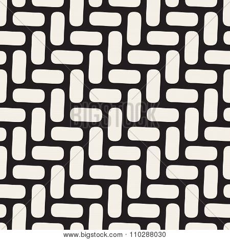 Vector Seamless Black And White Rounded Pavement Diagonal Line Pattern