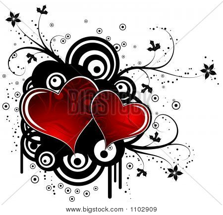 abstract valentines background with hearts and retro circles vector illustration poster