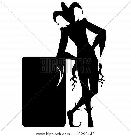 Isolated black joker silhouette on white background