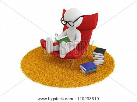 reading book chair