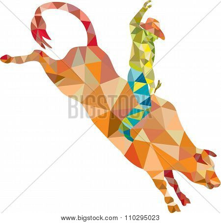 Rodeo Cowboy Bull Riding Low Polygon